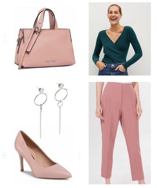 stylizacja z zielonym sweterkiem i pudrowo różowymi spodniami