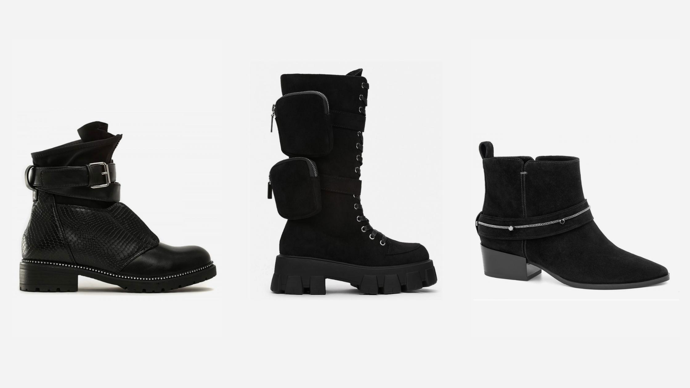 Czarne botki za kostkę - sklep z butami ejka!