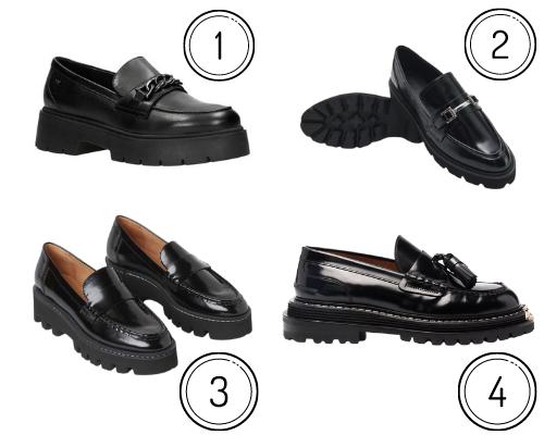 czarne chunky loafers
