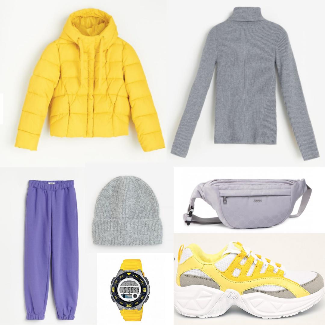żółta sportowa stylizacja